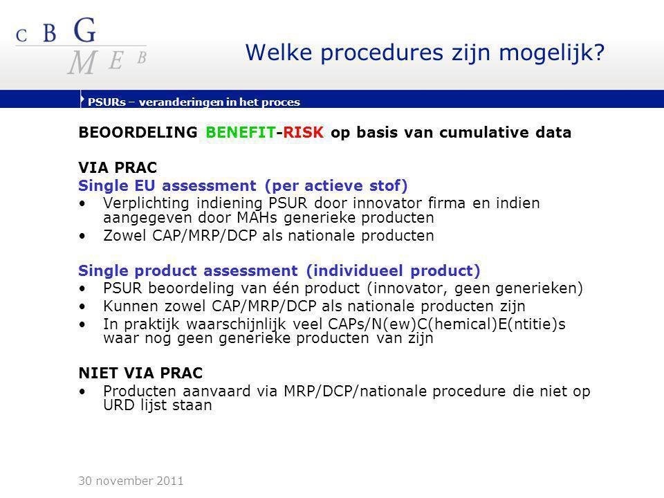 PSURs – veranderingen in het proces Welke procedures zijn mogelijk? BEOORDELING BENEFIT-RISK op basis van cumulative data VIA PRAC Single EU assessmen