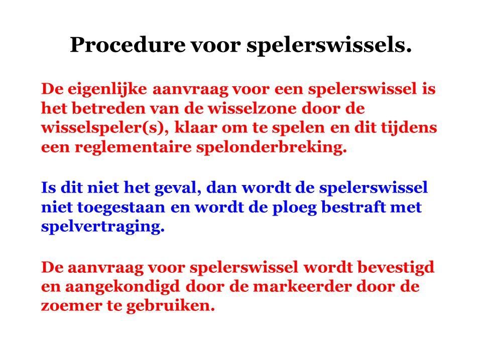 Procedure voor spelerswissels.