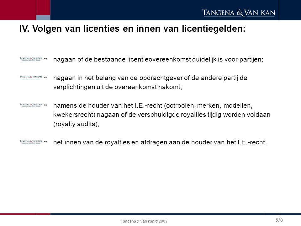 Tangena & Van kan,© 2009 IV. Volgen van licenties en innen van licentiegelden: nagaan of de bestaande licentieovereenkomst duidelijk is voor partijen;