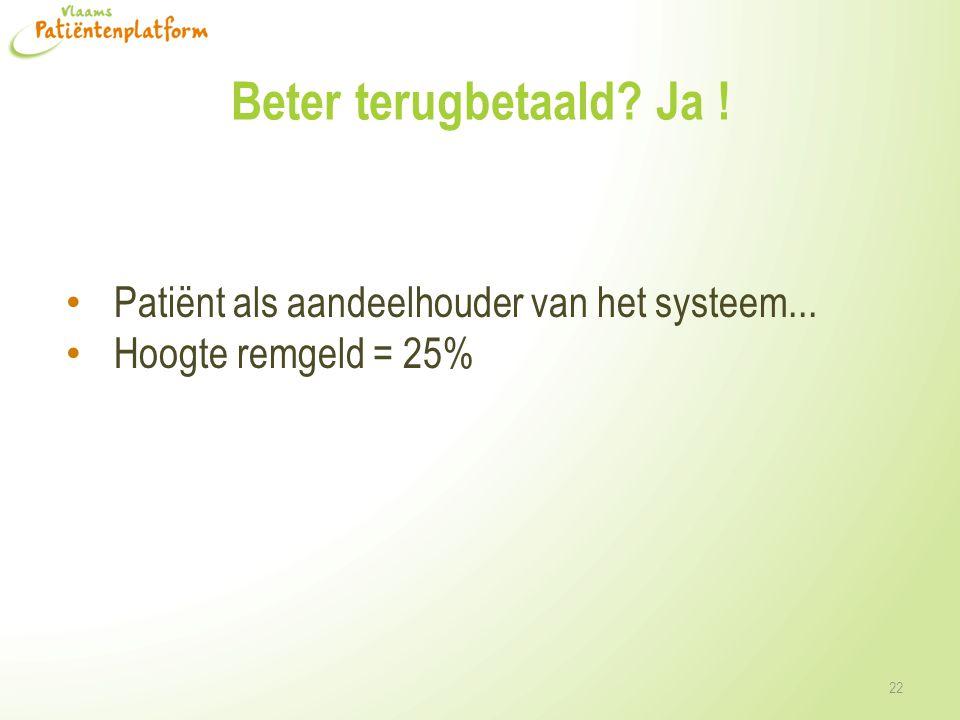 Beter terugbetaald? Ja ! • Patiënt als aandeelhouder van het systeem... • Hoogte remgeld = 25% 22