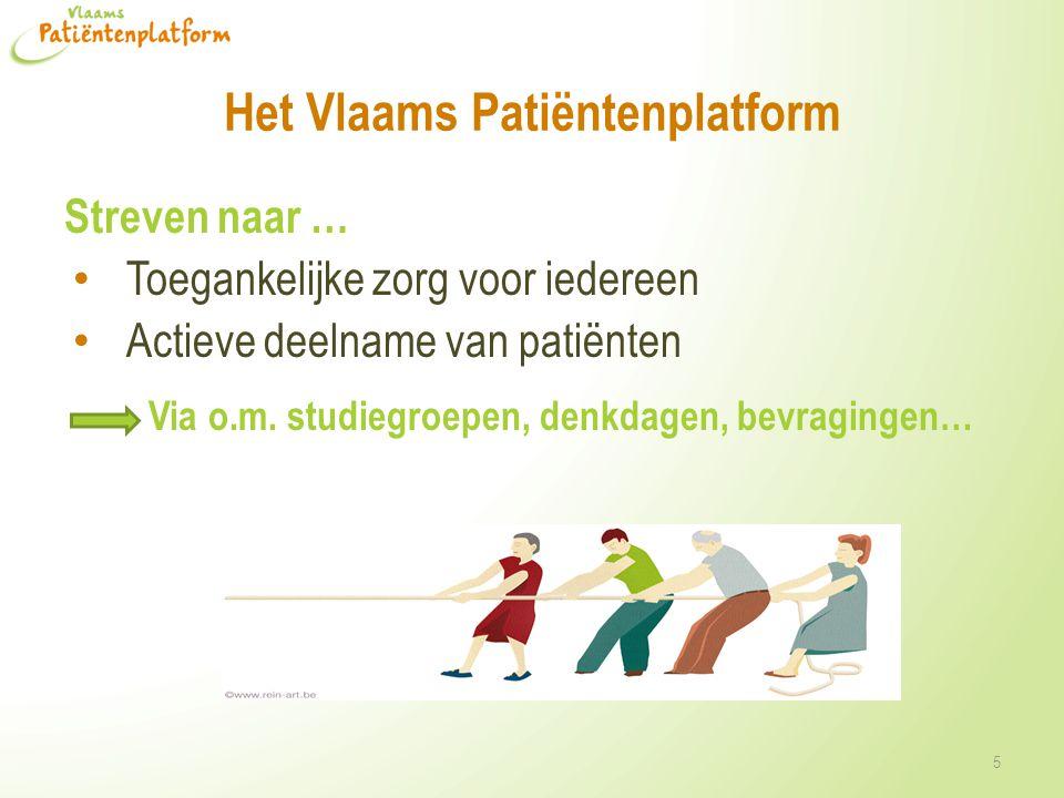 Het Vlaams Patiëntenplatform Streven naar … • Toegankelijke zorg voor iedereen • Actieve deelname van patiënten Via o.m.