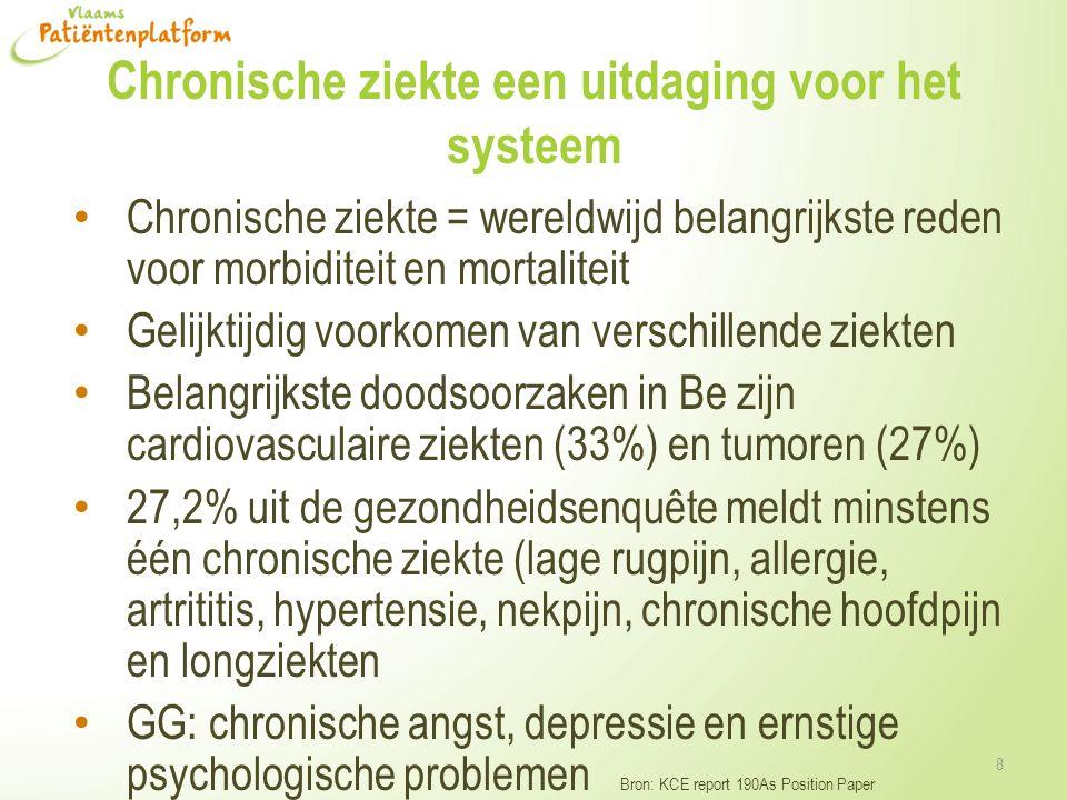 Chronische ziekte een uitdaging voor het systeem • Chronische ziekte = wereldwijd belangrijkste reden voor morbiditeit en mortaliteit • Gelijktijdig voorkomen van verschillende ziekten • Belangrijkste doodsoorzaken in Be zijn cardiovasculaire ziekten (33%) en tumoren (27%) • 27,2% uit de gezondheidsenquête meldt minstens één chronische ziekte (lage rugpijn, allergie, artrititis, hypertensie, nekpijn, chronische hoofdpijn en longziekten • GG: chronische angst, depressie en ernstige psychologische problemen Bron: KCE report 190As Position Paper 8