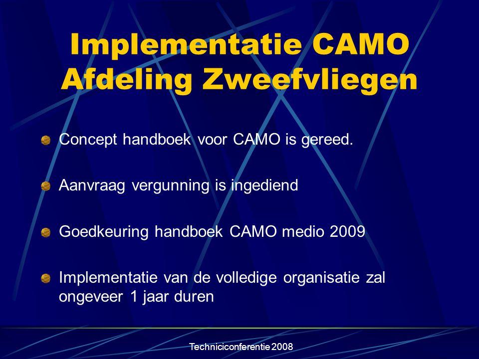 Techniciconferentie 2008 Implementatie CAMO Afdeling Zweefvliegen Concept handboek voor CAMO is gereed. Aanvraag vergunning is ingediend Goedkeuring h