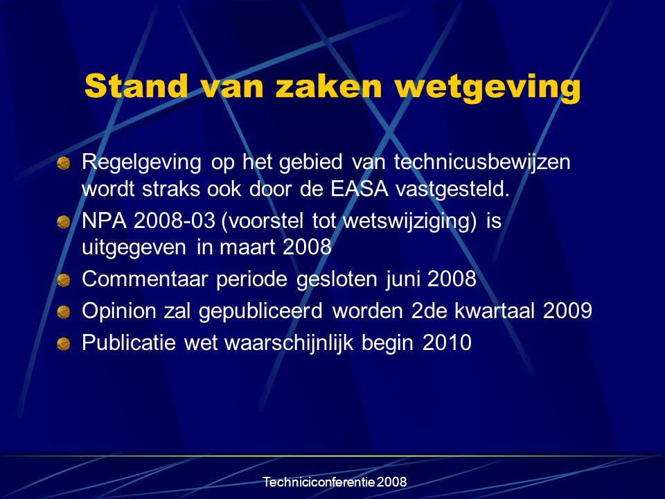 Techniciconferentie 2008 Stand van zaken wetgeving Regelgeving op het gebied van technicusbewijzen wordt straks ook door de EASA vastgesteld. NPA 2008