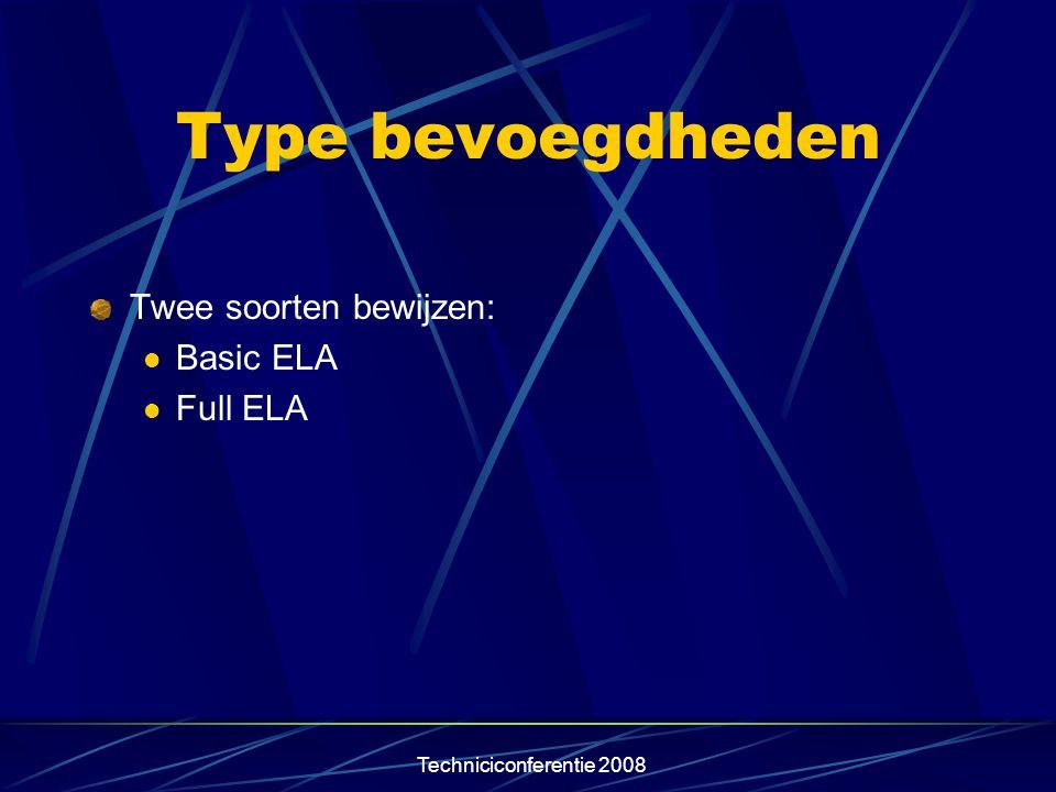 Techniciconferentie 2008 Type bevoegdheden Twee soorten bewijzen:  Basic ELA  Full ELA