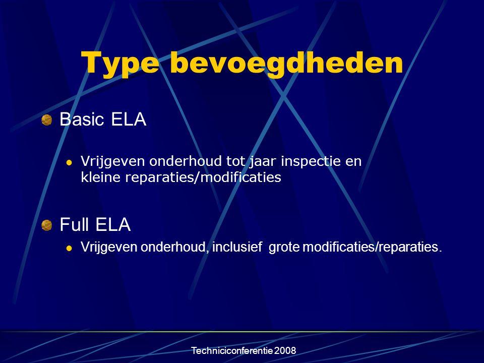 Techniciconferentie 2008 Type bevoegdheden Basic ELA  Vrijgeven onderhoud tot jaar inspectie en kleine reparaties/modificaties Full ELA  Vrijgeven o