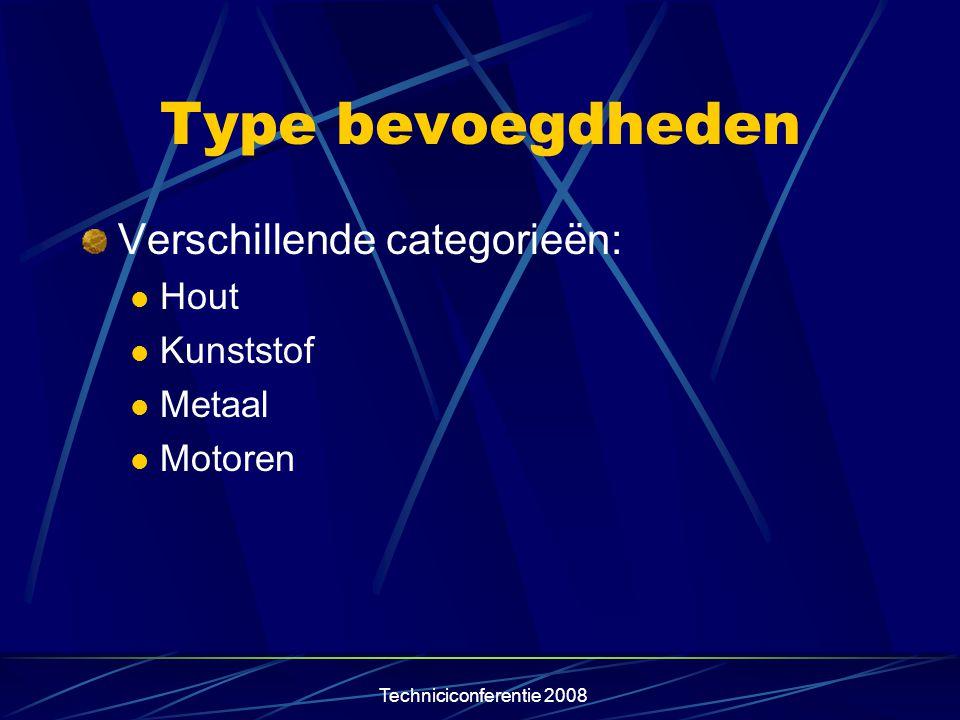 Techniciconferentie 2008 Type bevoegdheden Verschillende categorieën:  Hout  Kunststof  Metaal  Motoren