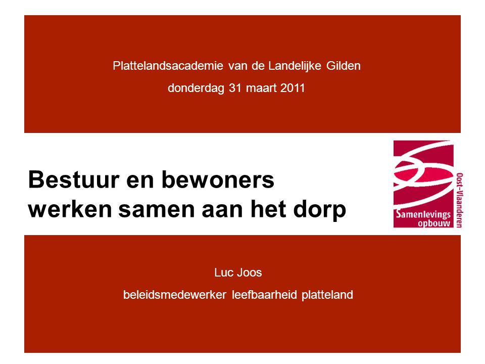 Samenlevingsopbouw •Onafhankelijke vzw, erkend en gesubsidieerd door de Vlaamse overheid, Departement Welzijn, Volksgezondheid en Gezin •Onze opdracht: –Agogische opdracht: •maatschappelijke participatie •beleidsparticipatie –Politieke opdracht: •sociaal gecorrigeerd beleid •participatief gecorrigeerd beleid •Op het platteland: –In 2000 op zoek naar een geschikte methodiek om die opdracht te realiseren voor leefbaarheid op het platteland