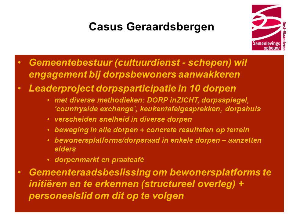 Casus Geraardsbergen •Gemeentebestuur (cultuurdienst - schepen) wil engagement bij dorpsbewoners aanwakkeren •Leaderproject dorpsparticipatie in 10 do