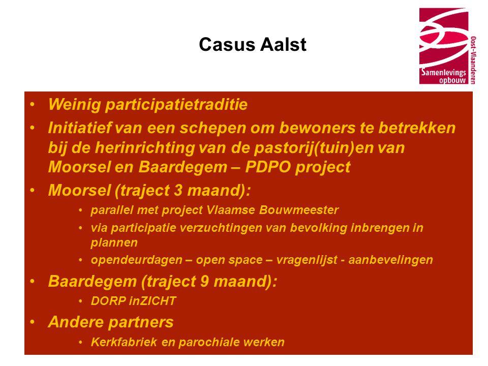Casus Aalst •Weinig participatietraditie •Initiatief van een schepen om bewoners te betrekken bij de herinrichting van de pastorij(tuin)en van Moorsel