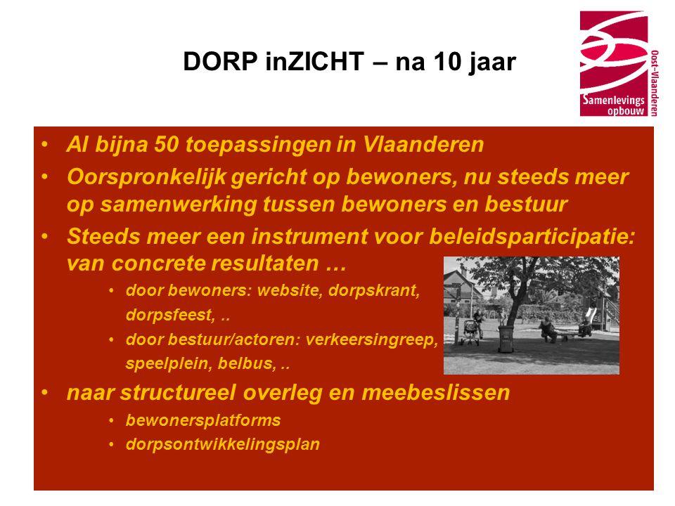 DORP inZICHT – na 10 jaar •Al bijna 50 toepassingen in Vlaanderen •Oorspronkelijk gericht op bewoners, nu steeds meer op samenwerking tussen bewoners en bestuur •Steeds meer een instrument voor beleidsparticipatie: van concrete resultaten … •door bewoners: website, dorpskrant, dorpsfeest,..