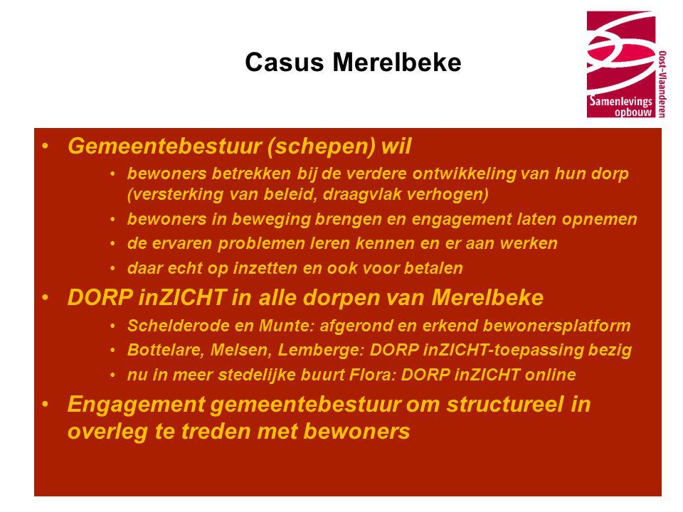 Casus Merelbeke •Gemeentebestuur (schepen) wil •bewoners betrekken bij de verdere ontwikkeling van hun dorp (versterking van beleid, draagvlak verhoge