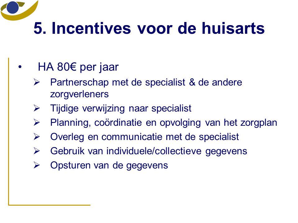5. Incentives voor de huisarts •HA 80€ per jaar  Partnerschap met de specialist & de andere zorgverleners  Tijdige verwijzing naar specialist  Plan