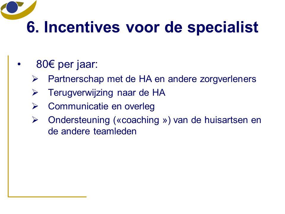 6. Incentives voor de specialist •80€ per jaar:  Partnerschap met de HA en andere zorgverleners  Terugverwijzing naar de HA  Communicatie en overle