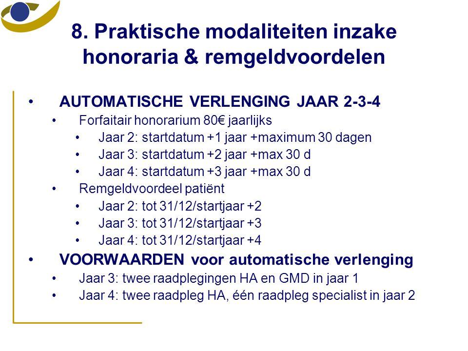 •AUTOMATISCHE VERLENGING JAAR 2-3-4 •Forfaitair honorarium 80€ jaarlijks •Jaar 2: startdatum +1 jaar +maximum 30 dagen •Jaar 3: startdatum +2 jaar +ma