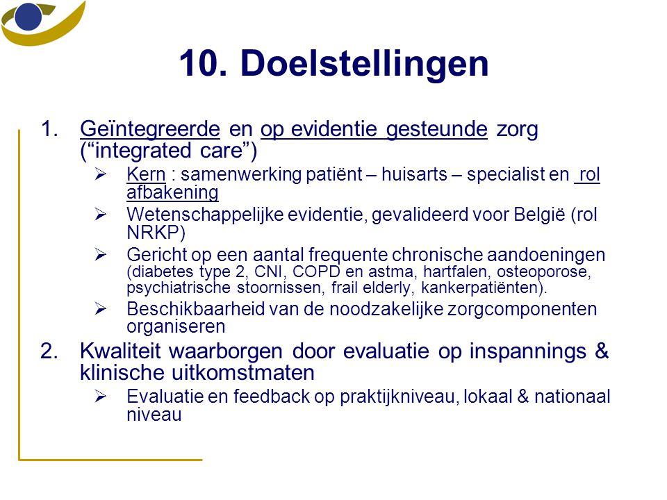 """10. Doelstellingen 1.Geïntegreerde en op evidentie gesteunde zorg (""""integrated care"""")  Kern : samenwerking patiënt – huisarts – specialist en rol afb"""
