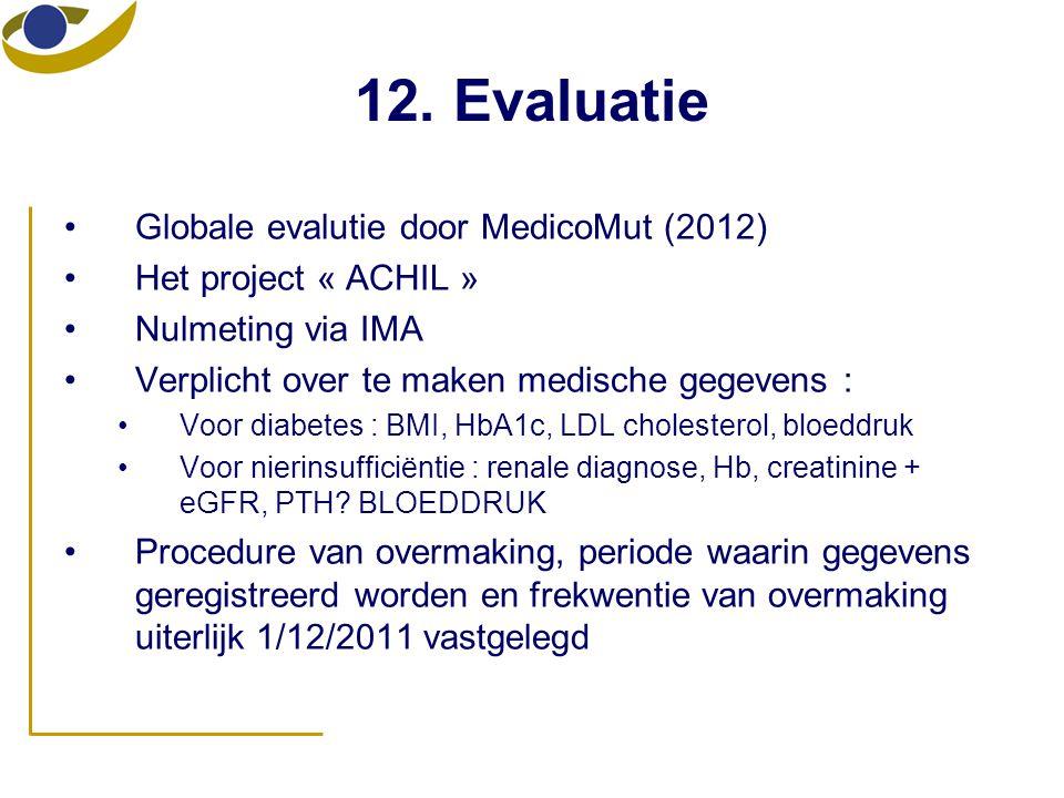12. Evaluatie •Globale evalutie door MedicoMut (2012) •Het project « ACHIL » •Nulmeting via IMA •Verplicht over te maken medische gegevens : •Voor dia
