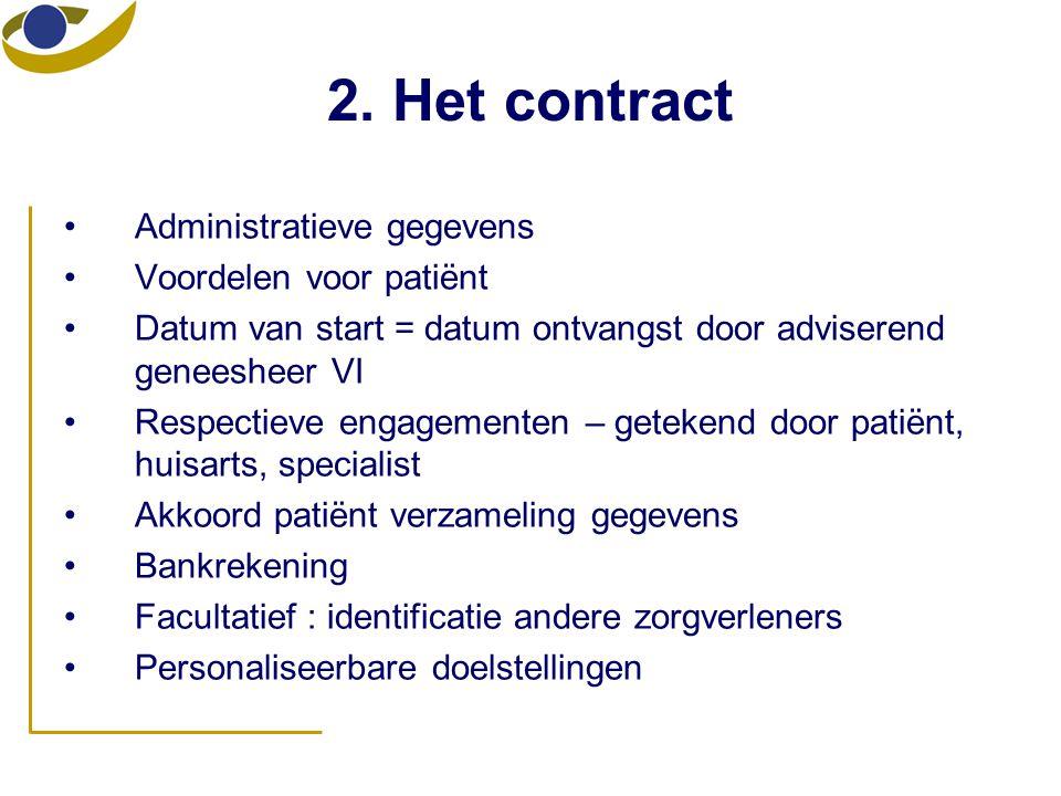 2. Het contract •Administratieve gegevens •Voordelen voor patiënt •Datum van start = datum ontvangst door adviserend geneesheer VI •Respectieve engage
