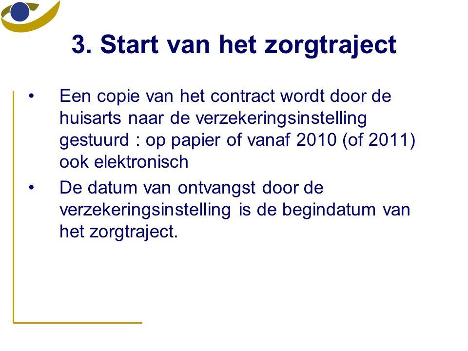 3. Start van het zorgtraject •Een copie van het contract wordt door de huisarts naar de verzekeringsinstelling gestuurd : op papier of vanaf 2010 (of