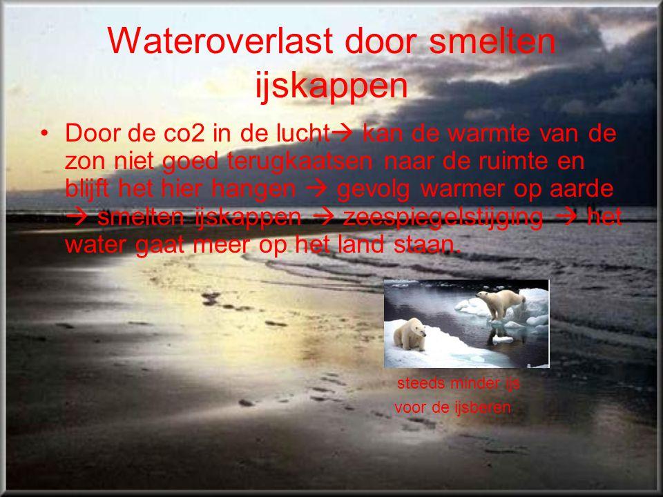 Wateroverlast door smelten ijskappen •Door de co2 in de lucht  kan de warmte van de zon niet goed terugkaatsen naar de ruimte en blijft het hier hang