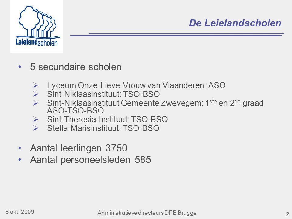 2 De Leielandscholen •5 secundaire scholen  Lyceum Onze-Lieve-Vrouw van Vlaanderen: ASO  Sint-Niklaasinstituut: TSO-BSO  Sint-Niklaasinstituut Gemeente Zwevegem: 1 ste en 2 de graad ASO-TSO-BSO  Sint-Theresia-Instituut: TSO-BSO  Stella-Marisinstituut: TSO-BSO •Aantal leerlingen 3750 •Aantal personeelsleden 585 8 okt.