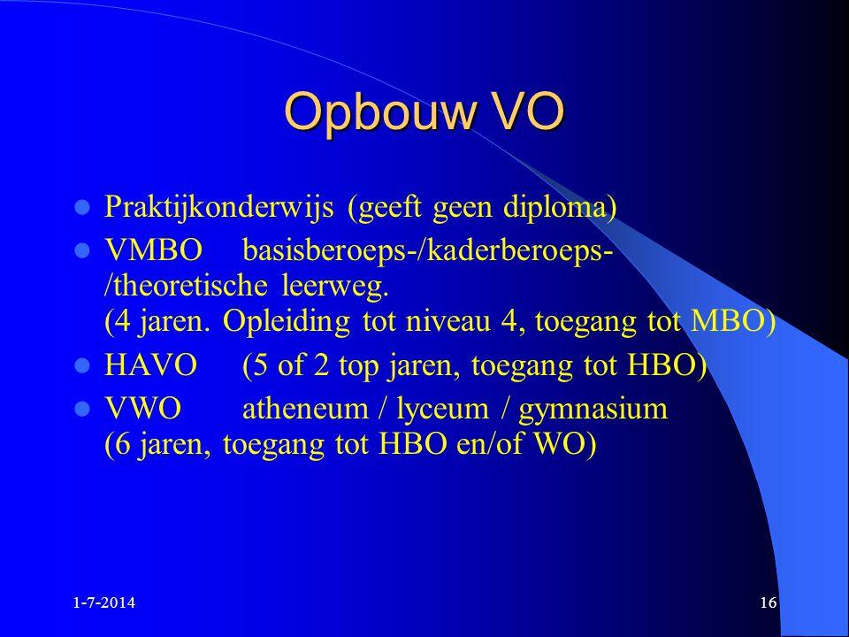 1-7-201416 Opbouw VO  Praktijkonderwijs (geeft geen diploma)  VMBObasisberoeps-/kaderberoeps- /theoretische leerweg. (4 jaren. Opleiding tot niveau