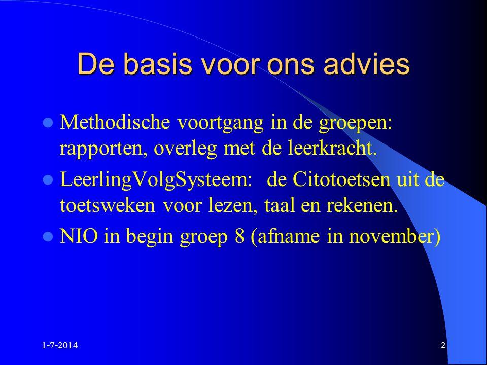 1-7-20142 De basis voor ons advies  Methodische voortgang in de groepen: rapporten, overleg met de leerkracht.  LeerlingVolgSysteem: de Citotoetsen