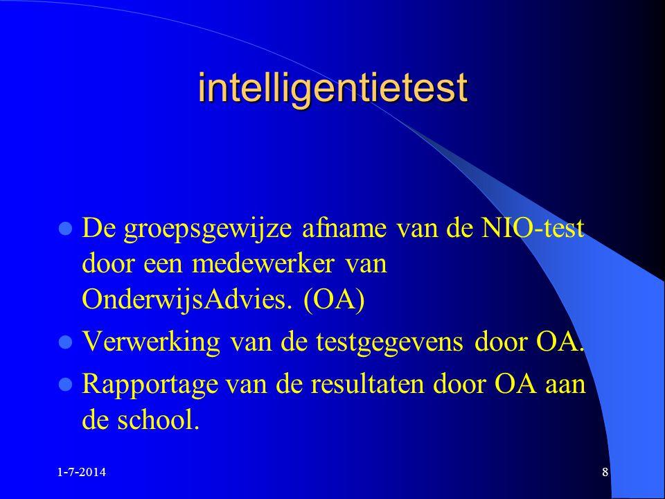 1-7-20148 intelligentietest  De groepsgewijze afname van de NIO-test door een medewerker van OnderwijsAdvies. (OA)  Verwerking van de testgegevens d