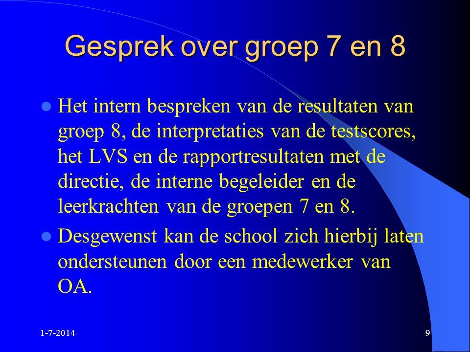 1-7-20149 Gesprek over groep 7 en 8  Het intern bespreken van de resultaten van groep 8, de interpretaties van de testscores, het LVS en de rapportre