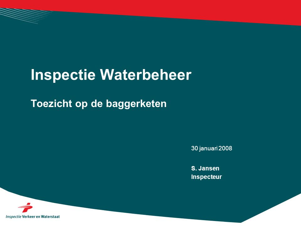 30 januari 2008 Toezicht op de baggerketen Inspectie Waterbeheer S. Jansen Inspecteur