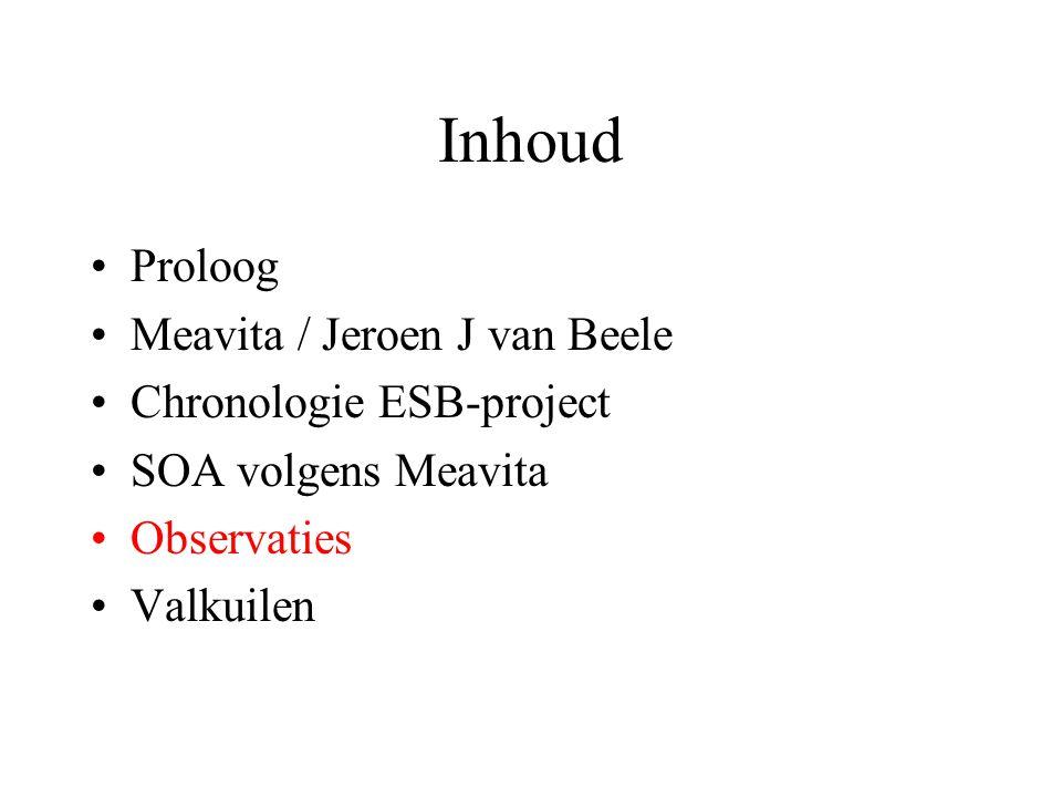 Observaties •Geen beeld van wat SOA is of kan betekenen –SOA-implementatie werd als een ESB- toolimplementatie opgevat •Selectietraject van de ESB ondoordacht.