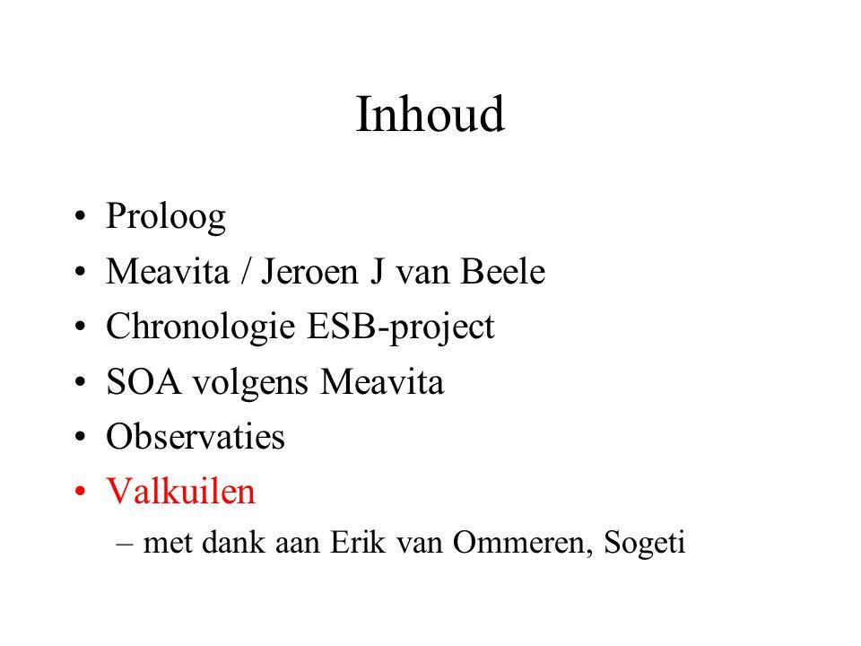Inhoud •Proloog •Meavita / Jeroen J van Beele •Chronologie ESB-project •SOA volgens Meavita •Observaties •Valkuilen –met dank aan Erik van Ommeren, So