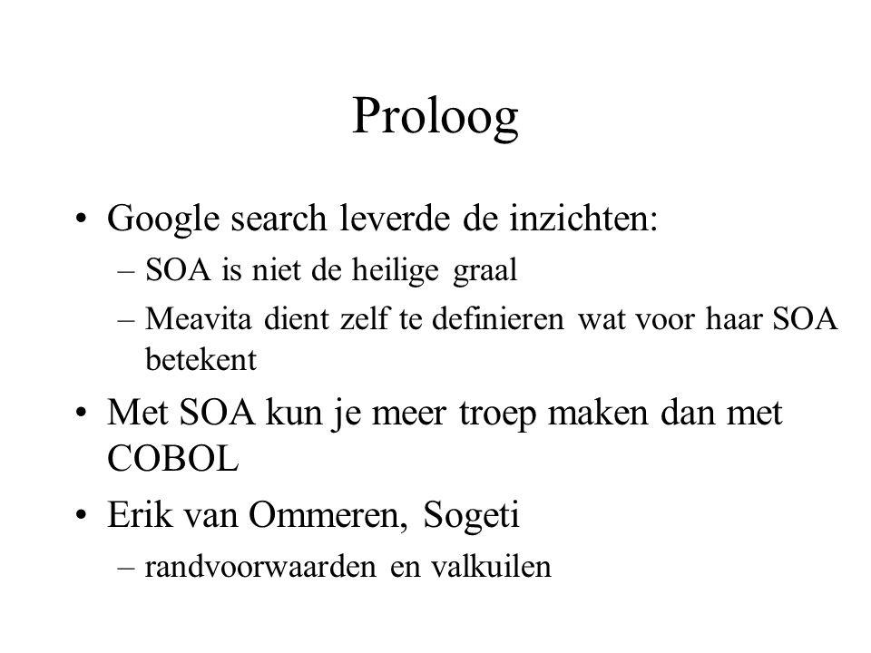 Proloog •Google search leverde de inzichten: –SOA is niet de heilige graal –Meavita dient zelf te definieren wat voor haar SOA betekent •Met SOA kun je meer troep maken dan met COBOL •Erik van Ommeren, Sogeti –randvoorwaarden en valkuilen
