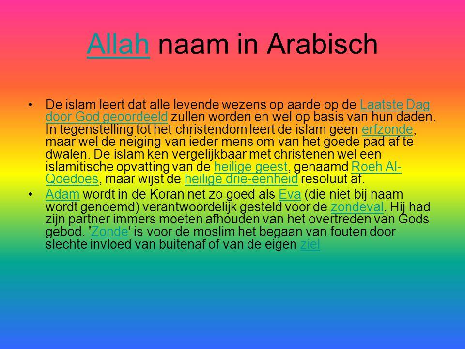 AllahAllah naam in Arabisch •D•De islam leert dat alle levende wezens op aarde op de Laatste Dag door God geoordeeld zullen worden en wel op basis van