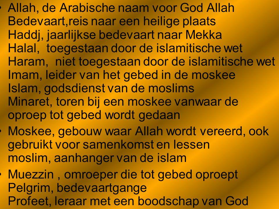 Het geloof •Moslims die in een Moskee prostreren in gebedMoslimsMoskeeprostrerengebed •De praktijk van het islamitisch geloof steunt op een stelsel van riten en plichten, de Fish, waarvan de Vijf zuilen van de islam de belangrijkste zijn, namelijk de geloofsbelijdenis (de shahada), het verrichten van de vijfmaal daagse verplichte gebeden (de salat), het geven van aalmoezen (de zakat), het overdag vasten in de maand Ramadan en het maken van een bedevaart naar Mekka (de hadj).