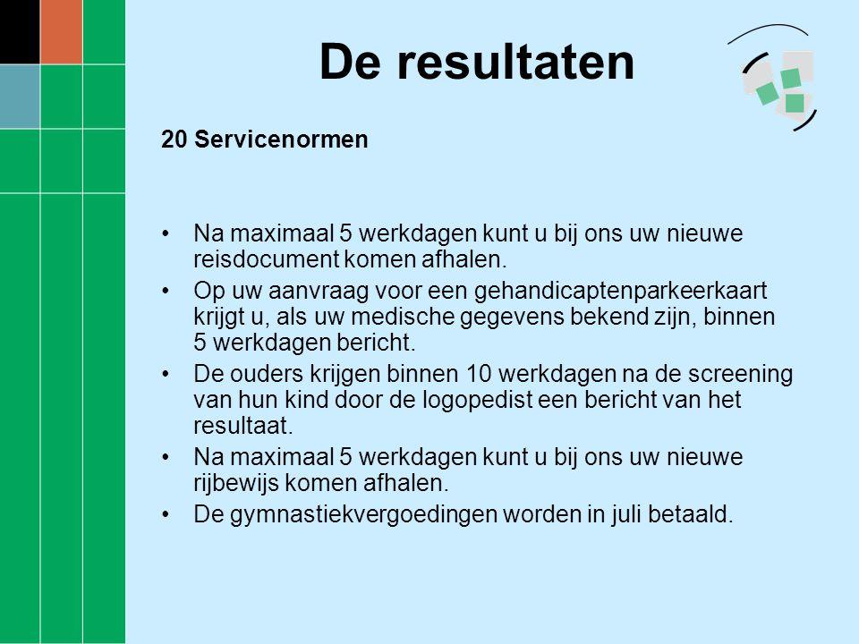 De resultaten 20 Servicenormen •Na maximaal 5 werkdagen kunt u bij ons uw nieuwe reisdocument komen afhalen. •Op uw aanvraag voor een gehandicaptenpar
