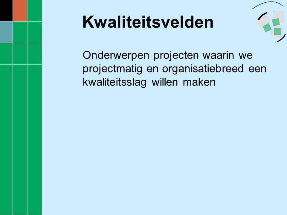 Kwaliteitsvelden •Dienstverlening •Bestuurlijke Zaken •Ontwikkeling Organisatie Medewerkers en Management (OOMM) •Communicatie & PR •Projecten •Planning & Control / Bedrijfsvoering