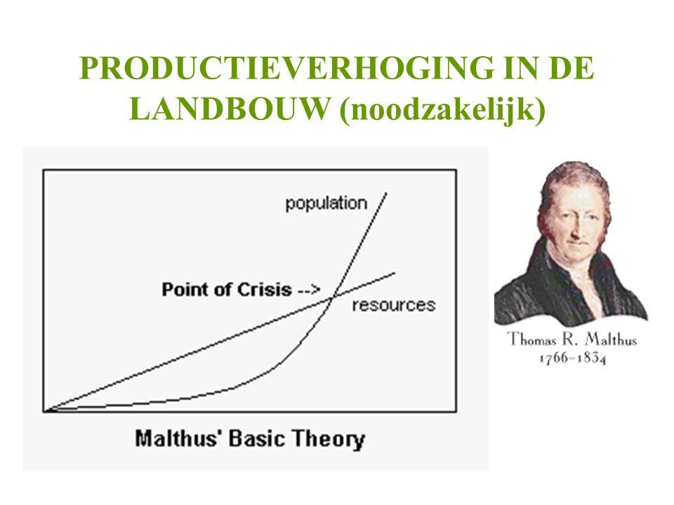 PRODUCTIEVERHOGING IN DE LANDBOUW (noodzakelijk) •