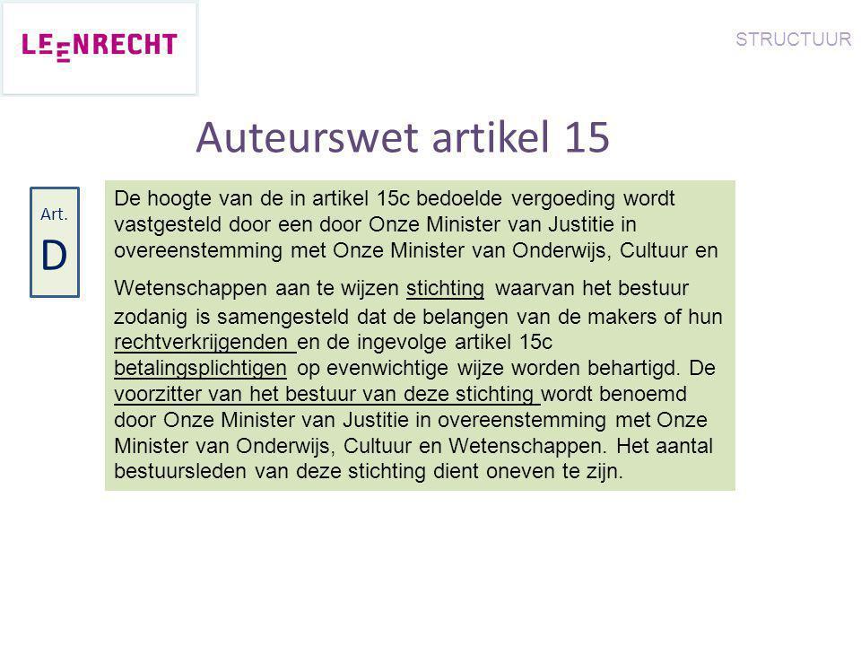 Auteurswet artikel 15 De hoogte van de in artikel 15c bedoelde vergoeding wordt vastgesteld door een door Onze Minister van Justitie in overeenstemmin