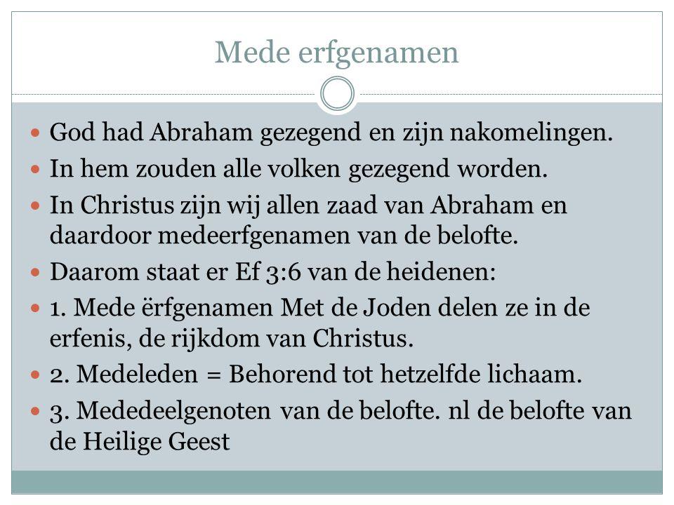 Mede erfgenamen  God had Abraham gezegend en zijn nakomelingen.  In hem zouden alle volken gezegend worden.  In Christus zijn wij allen zaad van Ab