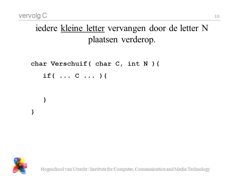 vervolg C Hogeschool van Utrecht / Institute for Computer, Communication and Media Technology 10 iedere kleine letter vervangen door de letter N plaatsen verderop.