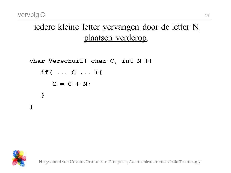 vervolg C Hogeschool van Utrecht / Institute for Computer, Communication and Media Technology 11 iedere kleine letter vervangen door de letter N plaatsen verderop.