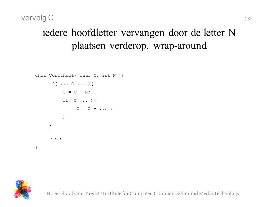 vervolg C Hogeschool van Utrecht / Institute for Computer, Communication and Media Technology 13 iedere hoofdletter vervangen door de letter N plaatsen verderop, wrap-around char Verschuif( char C, int N ){ if(...
