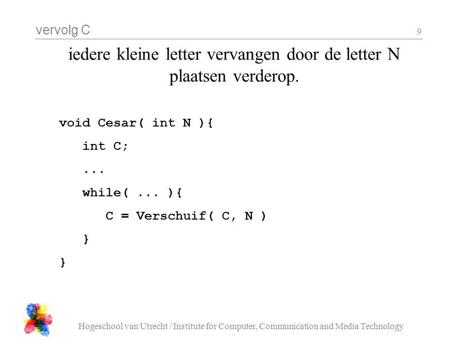 vervolg C Hogeschool van Utrecht / Institute for Computer, Communication and Media Technology 9 iedere kleine letter vervangen door de letter N plaatsen verderop.