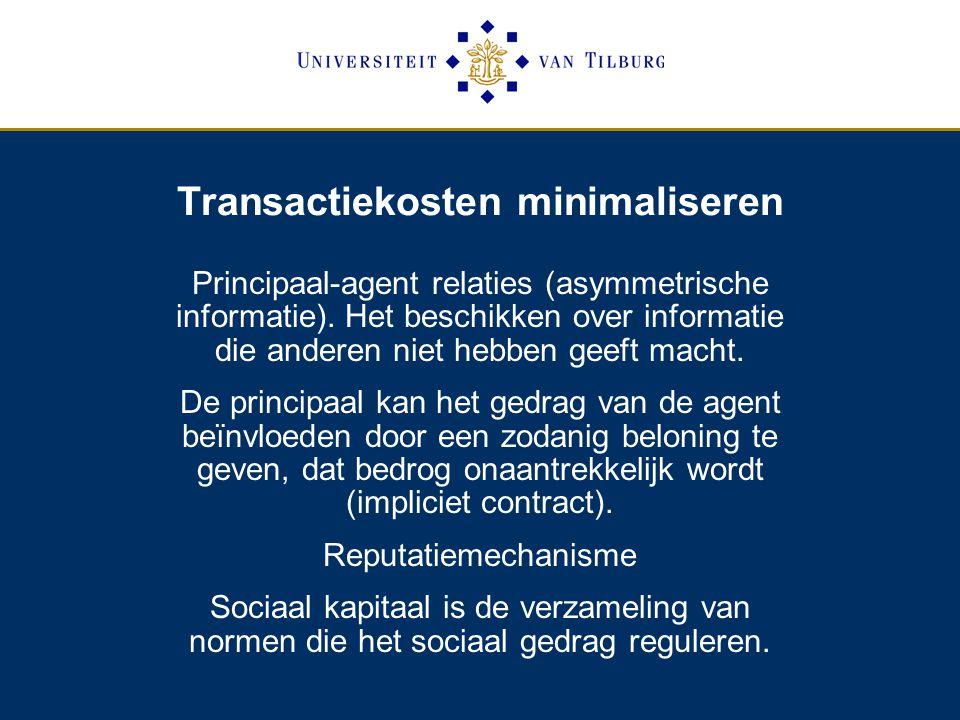 Transactiekosten minimaliseren Principaal-agent relaties (asymmetrische informatie).