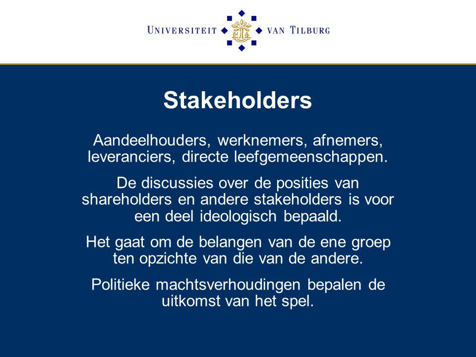 Stakeholders Aandeelhouders, werknemers, afnemers, leveranciers, directe leefgemeenschappen.