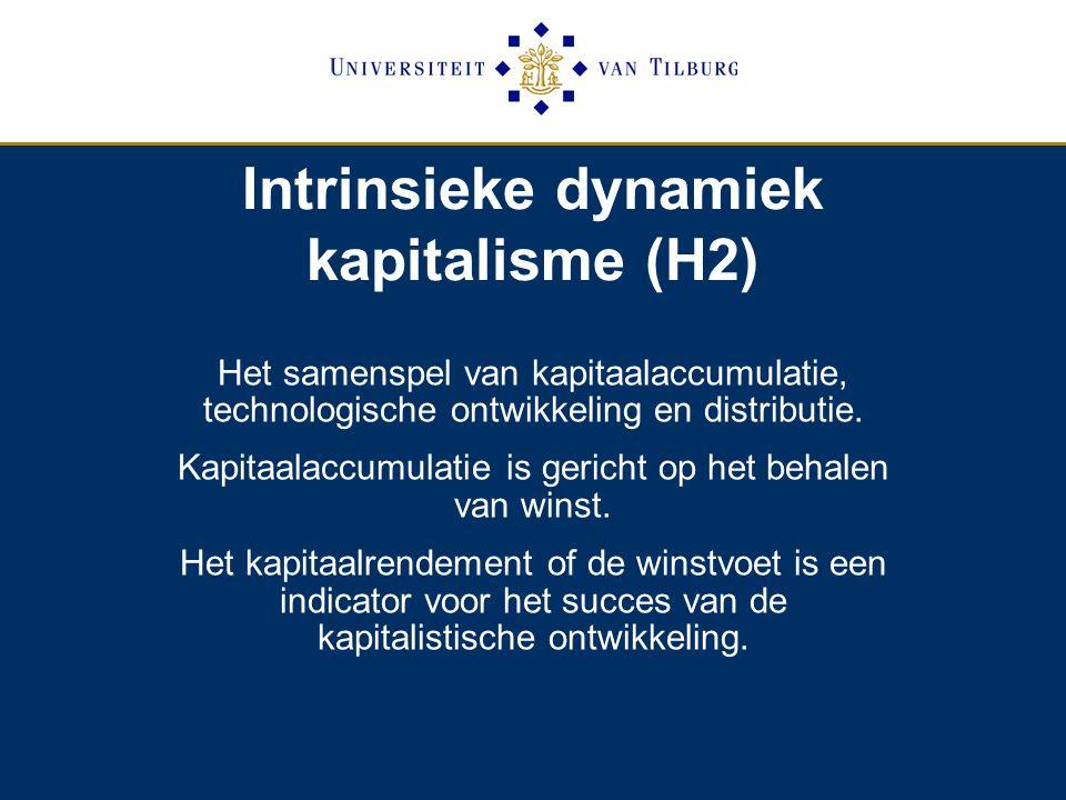 Intrinsieke dynamiek kapitalisme (H2) Het samenspel van kapitaalaccumulatie, technologische ontwikkeling en distributie.