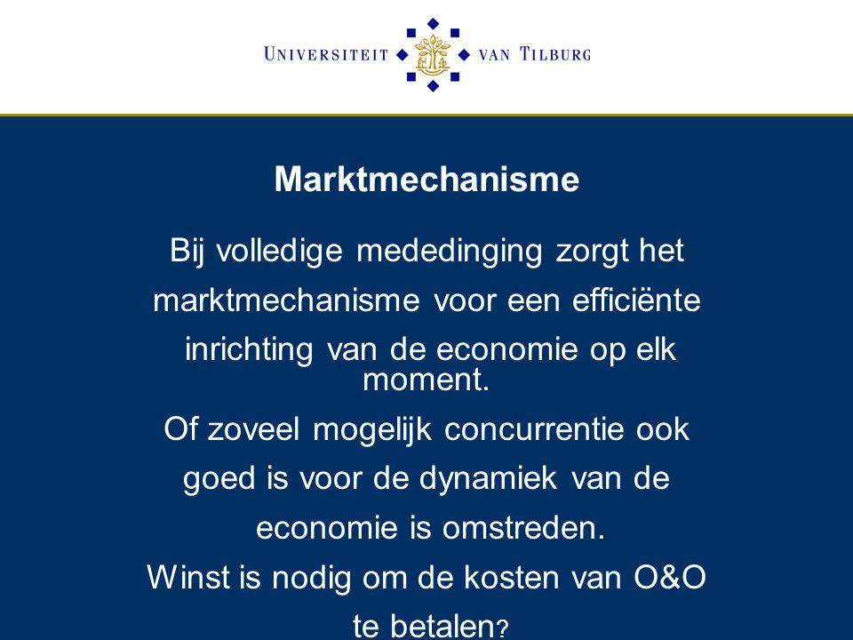 Marktmechanisme Bij volledige mededinging zorgt het marktmechanisme voor een efficiënte inrichting van de economie op elk moment.