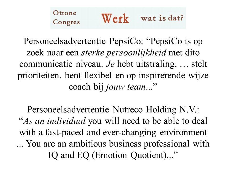 Personeelsadvertentie PepsiCo: PepsiCo is op zoek naar een sterke persoonlijkheid met dito communicatie niveau.
