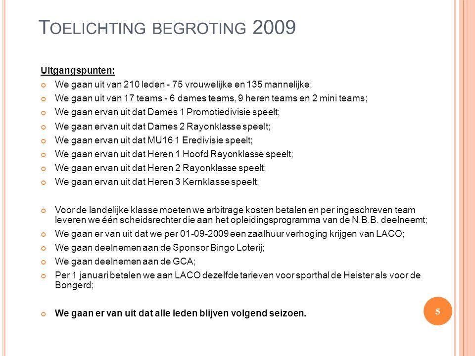T OELICHTING BEGROTING 2009 Uitgangspunten: We gaan uit van 210 leden - 75 vrouwelijke en 135 mannelijke; We gaan uit van 17 teams - 6 dames teams, 9